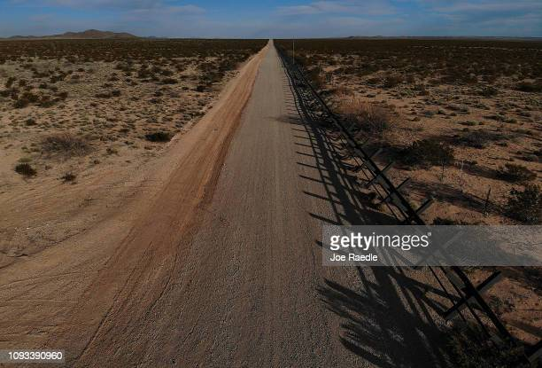 An aerial view of Xshaped steel beams that mark the border between the US and Mexico as the United States government continues its shutdown over a...