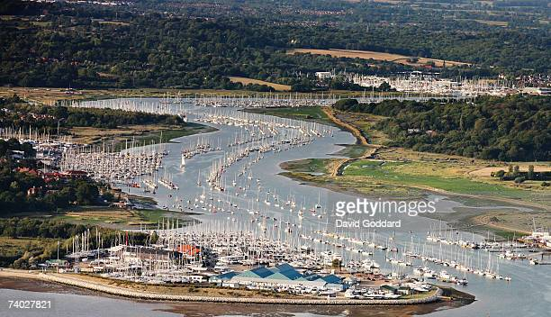An aerial view of yachts sailing on the Hamble river which is between Hamble le Rice and Warsash just off Southampton water on 5th September 2006