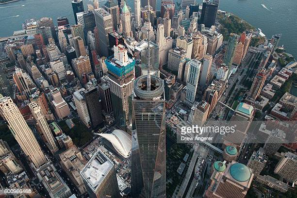 An aerial view One World Trade Center in Lower Manhattan, September 8, 2016 in New York City. New York City is preparing to mark the 15th anniversary...