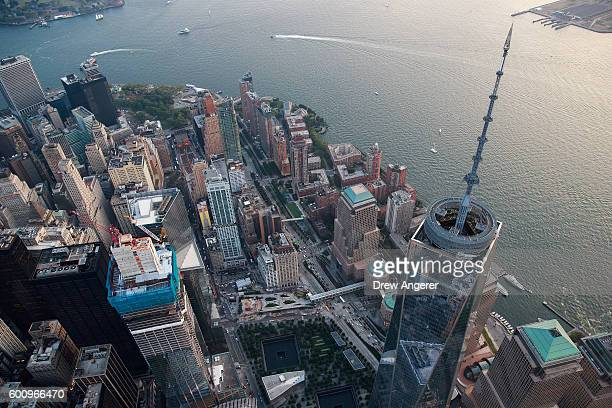 An aerial view One World Trade Center in Lower Manhattan September 8 2016 in New York City New York City is preparing to mark the 15th anniversary of...
