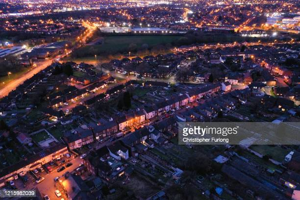 An aerial view over homes in Walsall West Midlands as people stay home during the Covid19 lockdown on March 30 2020 in Walsall United Kingdom...