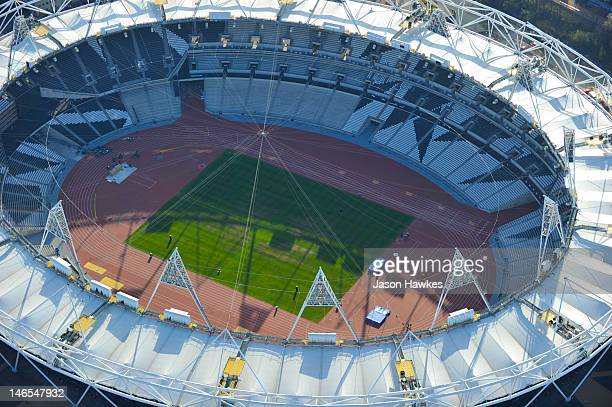 An aerial view over the London 2012 Olympic Stadium on April 1, 2012 in Stratford, London.
