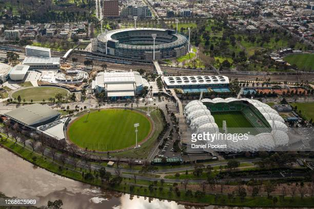 An aerial view over the Melbourne Park precinct on August 26 2020 in Melbourne Australia Melbourne is in stage four lockdown for six weeks until...