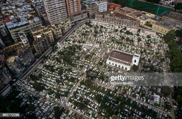 An aerial view overlooking the Cemiterio de São Miguel Arcanjo the exPortuguese colony of Macau's Chinese Christian cemetery of San Miguel on 10th...
