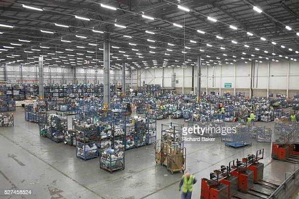 An aerial view overlooking the processing depot of Royal Mail's DIRFT logistics park in Daventry Northamptonshire England Commercial postage of...