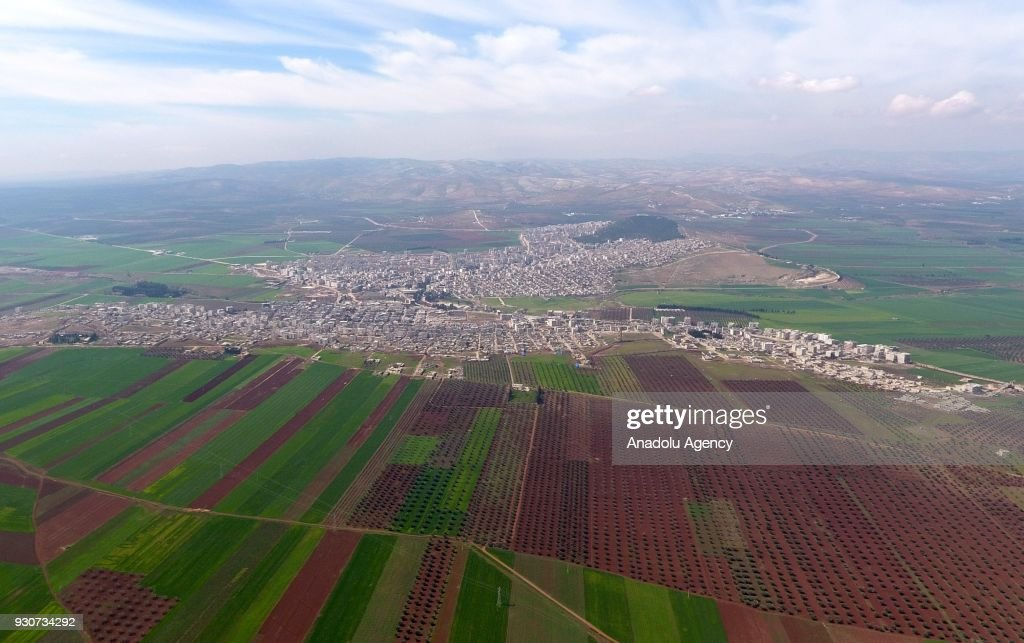 An aerial view photo shows Afrin region on March 12, 2018 in Afrin, Syria. The Turkish Armed Forces and Free Syrian Army (FSA) liberated 16 more villages and a strategic mountain on Sunday within the 'Operation Olive Branch' and deployed forces only 1,5 kilometers away from the town of Afrin. Since the beginning of the operation, Turkish and Free Syrian Army forces have freed 189 locations, including five town centers, 151 villages, and 33 strategic areas. Turkey launched Operation Olive Branch on January 20 in Syrias northwestern Afrin region; the aim of the operation is to establish security and stability along Turkish borders and the region as well as to eliminate PKK/KCK/PYD-YPG and Daesh terror groups, and protect the Syrian people from the oppression and cruelty of terrorists.