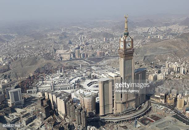 An aerial view photo shows Macca Royal Clock Tower Hotel near the Kaaba Islam's holiest site located in the center of the Masjid alHaram during Hajj...
