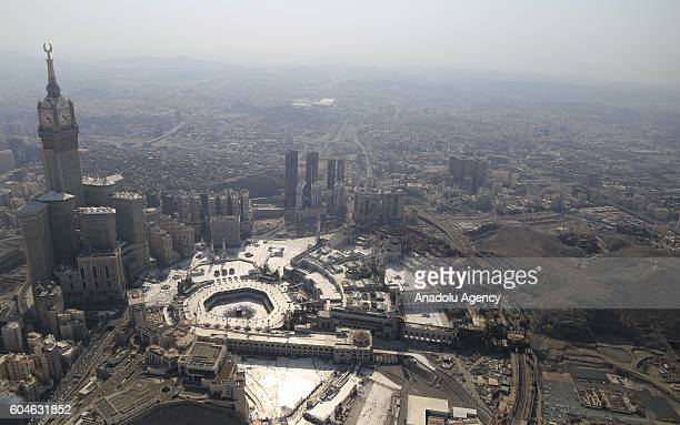 An aerial view photo shows the Kaaba Islam's holiest site located in the center of the Masjid alHaram during Hajj in Mecca Saudi Arabia on September...