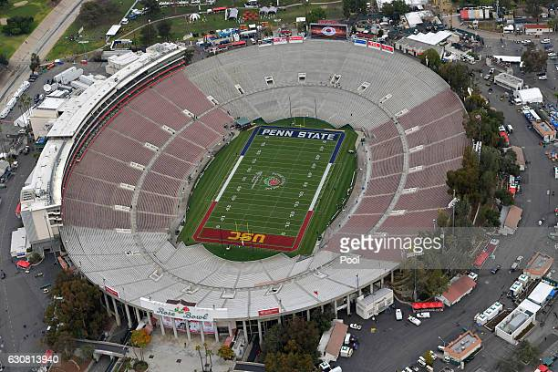 An aerial view prior to the 2017 Rose Bowl Game presented by Northwestern Mutual between the USC Trojans and the Penn State Nittany Lions at the Rose...