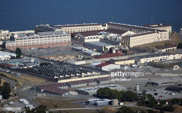 An aerial view San Quentin State Prison on July 08, 2020 in San Quentin, California. Over 1,400 inmates and staff at San Quentin State Prison have...