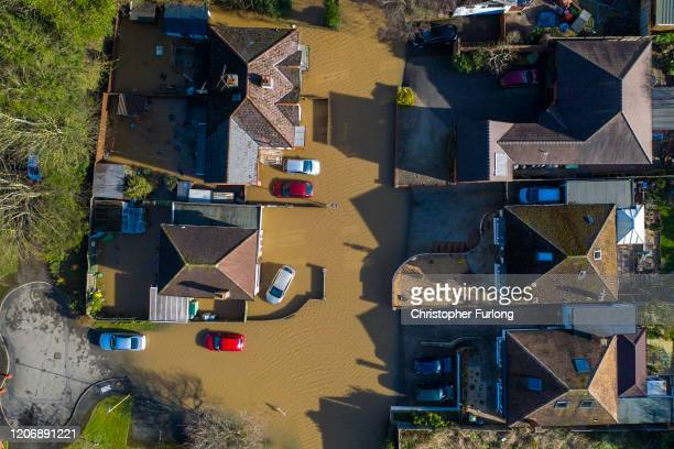 An aerial view showing flooding from the River Wye following Storm Dennis on February 17 2020 in Hereford England Storm Dennis is the second named...