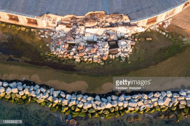An aerial view showing the damage at Hurst Castle on August 10, 2021 in Hampshire near Lymington, England. Hurst Castle, south of Lymington, was...