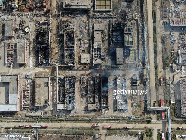 An aerial view shows a chemical plant after an explosion in Yancheng in China's eastern Jiangsu province early on March 22 2019 Chinese President Xi...