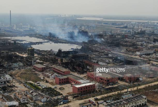 An aerial view shows a chemical plant after an explosion in Yancheng in China's eastern Jiangsu province on March 23 2019 The death toll in a...
