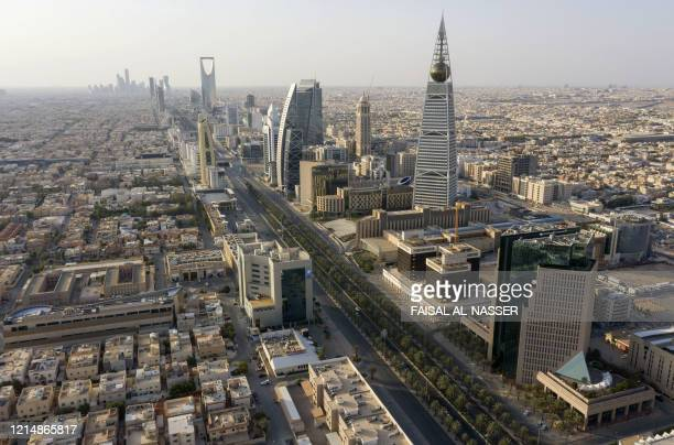 An aerial view shows a deserted highway due to the COVID-19 pandemic, on the first day of the Eid al-Fitr feast marking the end of the Muslim holy...
