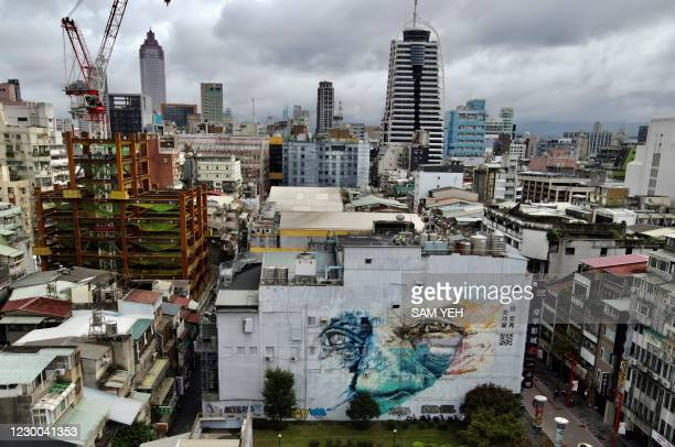 An aerial view shows a graffiti building at the Taipei Cinema Park on December 10, 2020.
