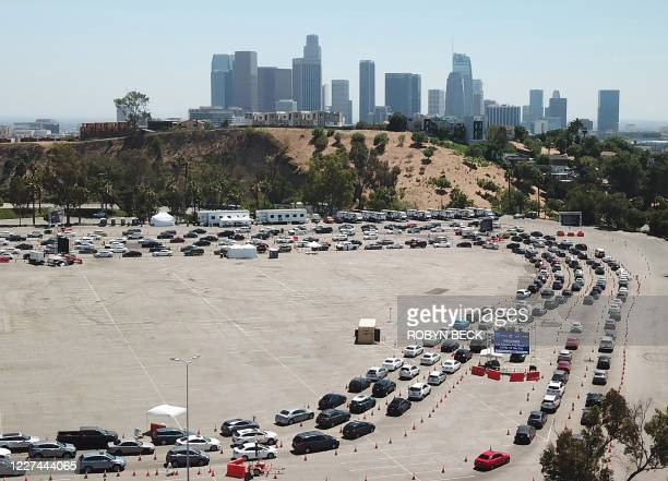 An aerial view shows a long line of cars July 15, 2020 at a COVID-19 testing site at Dodgers Stadium in Los Angeles, California. - Los Angeles County...