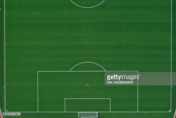 An aerial view shows a soccer field with artificial grass in Hagen western Germany on April 12 amid the novel coronavirus pandemic