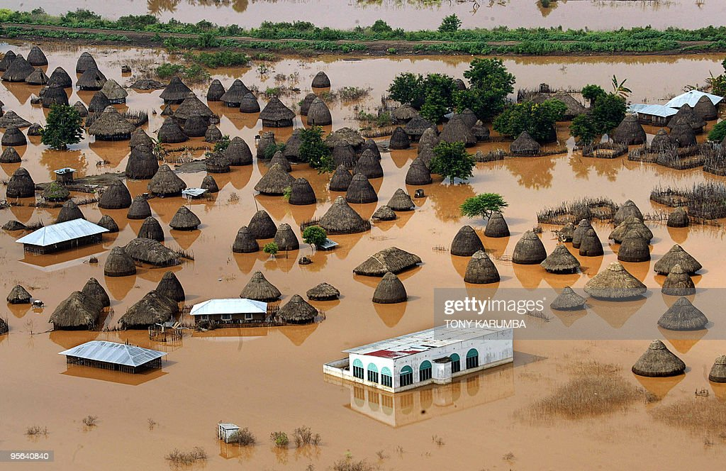 An aerial view shows a submerged village : News Photo