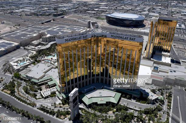 An aerial view shows Allegiant Stadium under construction west of Mandalay Bay Resort and Casino and Delano Las Vegas at Mandalay Bay Resort and...