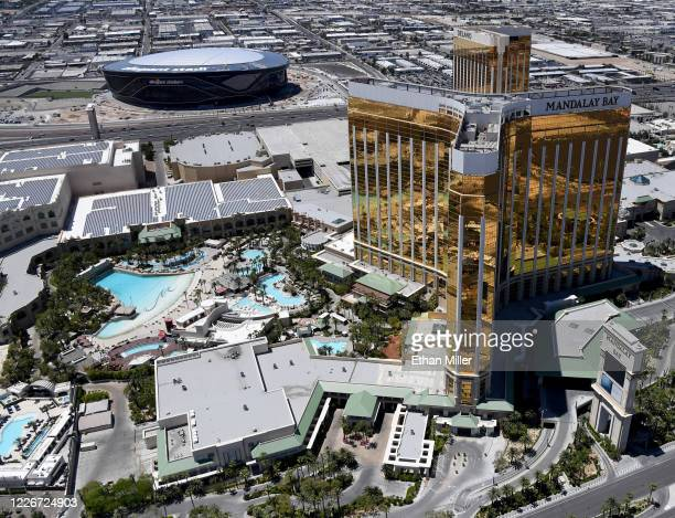 An aerial view shows Allegiant Stadium under construction west of Delano Las Vegas at Mandalay Bay Resort and Casino and Mandalay Bay Resort and...