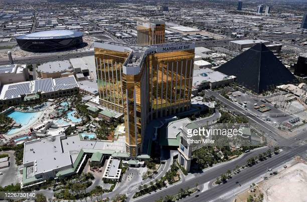 An aerial view shows Allegiant Stadium under construction west of Mandalay Bay Resort and Casino Delano Las Vegas at Mandalay Bay Resort and Casino...