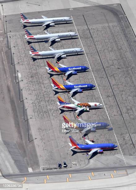 An aerial view shows American Airlines and Southwest Airlines jets parked at McCarran International Airport amid the spread of the coronavirus on May...