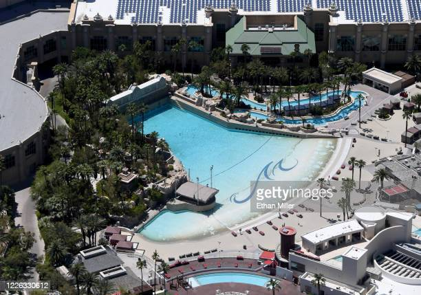 An aerial view shows an empty pool complex at Mandalay Bay Resort and Casino, which has been closed since March 17 in response to the coronavirus...