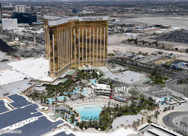 An aerial view shows an empty pool complex at Mandalay Bay Resort and Casino which has been closed since March 17 in response to the coronavirus...