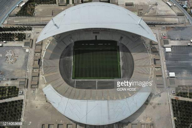 An aerial view shows Ataturk Olympic stadium where the final of the 2020 Champions league final was scheduled in Istanbul on May 19 during a fourday...