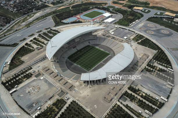 An aerial view shows Ataturk Olympic stadium which was hosted for Champions league final 2020 in Istanbul on May 19 during a fourday curfew aimed at...
