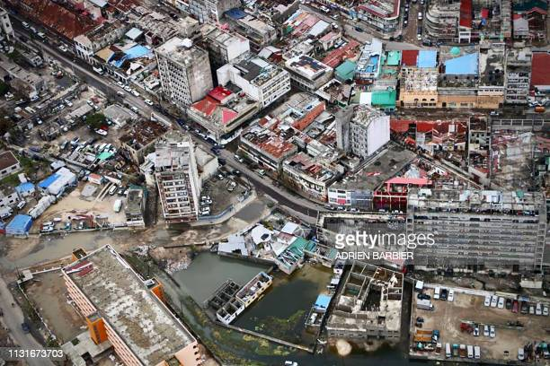 An aerial view shows Beira central Mozambique on March 20 after the passage of cyclone Idai International aid agencies raced on March 20 to rescue...