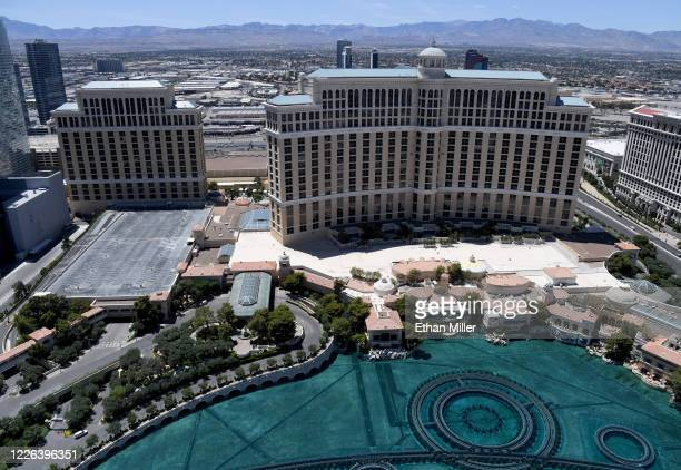 An aerial view shows Bellagio Resort Casino which has been closed since March 17 in response to the coronavirus pandemic on May 21 2020 in Las Vegas...