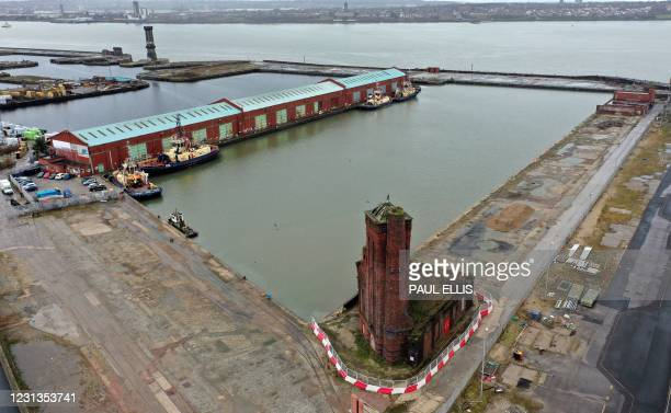 An aerial view shows Bramley Moore Dock , next to the River Mersey in Liverpool, north west England, on February 24, 2021. - Everton have secured...