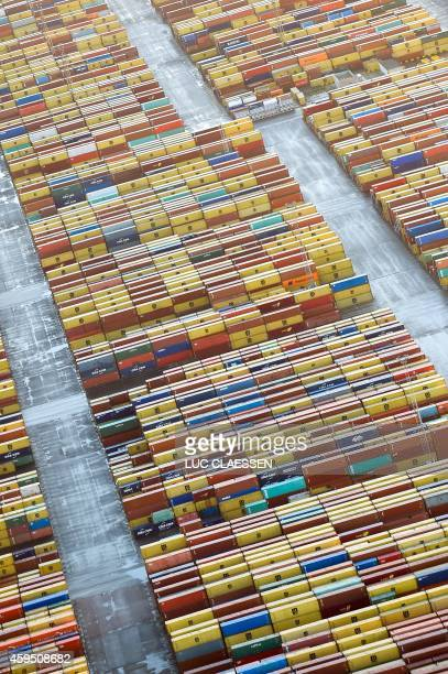 An aerial view shows containers in Antwerp harbour during a strike in the Antwerp province on November 24 2014 The different unions called for...