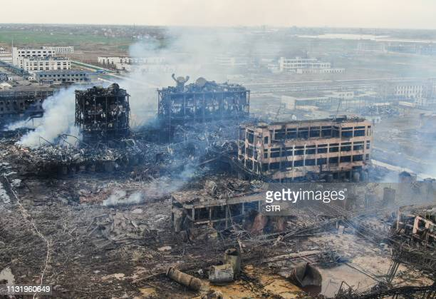 TOPSHOT An aerial view shows damaged buildings after an explosion at a chemical plant in Yancheng in China's eastern Jiangsu province early on March...