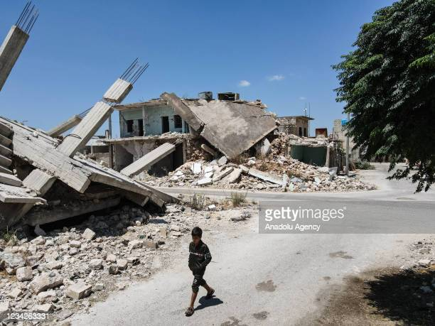 An aerial view shows damaged buildings after Assad regime and its supporters' attacks in Jabal Zawiya region in Idlib, Syria on July 22, 2021.