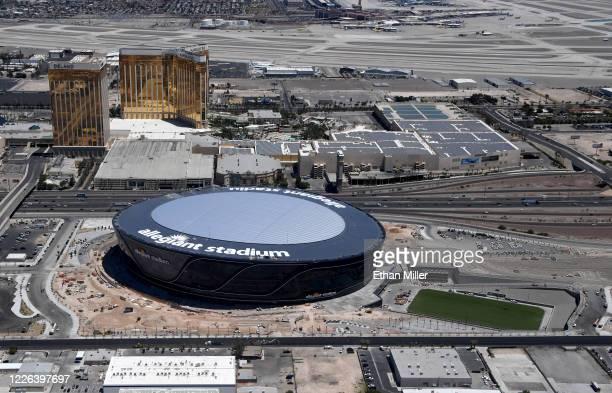 An aerial view shows Delano Las Vegas at Mandalay Bay Resort and Casino and Mandalay Bay Resort and Casino on the Las Vegas Strip east of the...