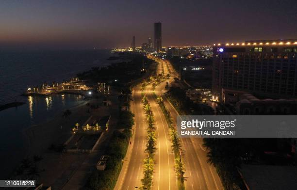 TOPSHOT An aerial view shows deserted streets in the Saudi coastal city of Jeddah on April 21 during the novel coronavirus pandemic crisis