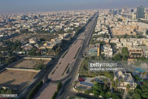 An aerial view shows deserted streets in the Saudi coastal city of Jeddah on April 21 during the novel coronavirus pandemic crisis.