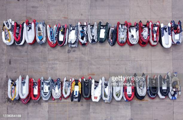An aerial view shows dinghies stored in a Port Authority yard, believed to have been used by migrants picked up at sea whilst crossing the English...