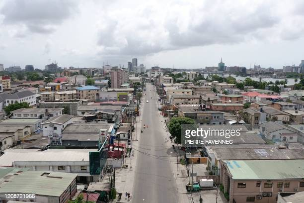 An aerial view shows empty streets in Lagos on March 31, 2020. - Lagos was deserted on March 31 after Nigeria locked down its economic hub and...