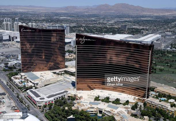 An aerial view shows Encore Las Vegas and Wynn Las Vegas, both of which have been closed since March 17 in response to the coronavirus pandemic on...