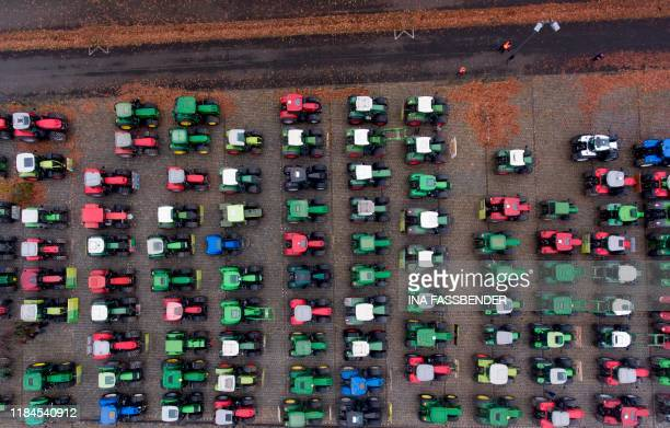 An aerial view shows farmers during their protest with their tractors against the government's environmental policies including plans to phase out...