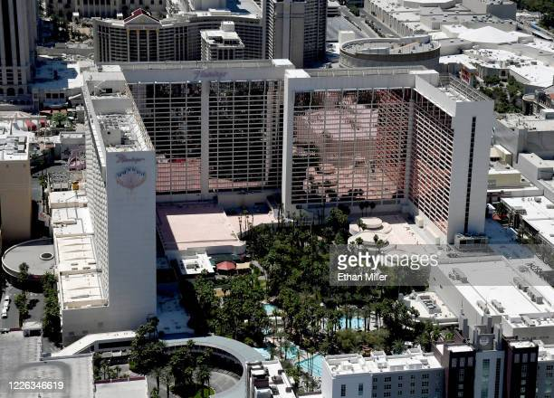 An aerial view shows Flamingo Las Vegas, which has been closed since March 17 in response to the coronavirus pandemic on May 21, 2020 in Las Vegas,...