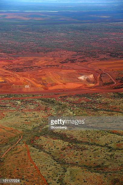 An aerial view shows Fortescue Metals Group Ltd's Cloudbreak iron ore operation in the Pilbara region of Western Australia on Monday July 25 2011...