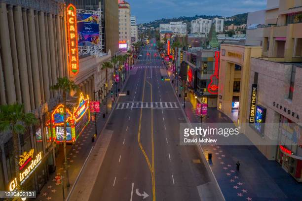 An aerial view shows Hollywood Boulevard as coronavirus infections continue to spread throughout the region on April 19, 2020 in the Hollywood...