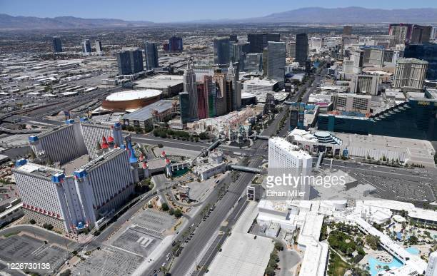 An aerial view shows hotel-casinos and other venues on the Las Vegas Strip, most of which have been closed since March 17 in response to the...