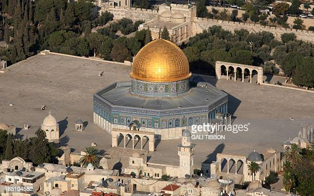 An aerial view shows Jerusalem's AlAqsa mosque compound Islam's third holiest shrine with the Dome of the Rock in the center on October 15 2008 AFP...