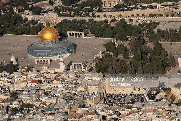 An aerial view shows Jerusalem's Old City with the AlAqsa mosque compound Islam's third holiest shrine and on the right side the Western Wall...